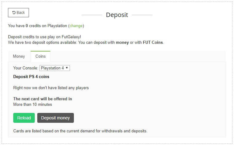 Come depositare crediti su FUTgalaxy - PASSO 1