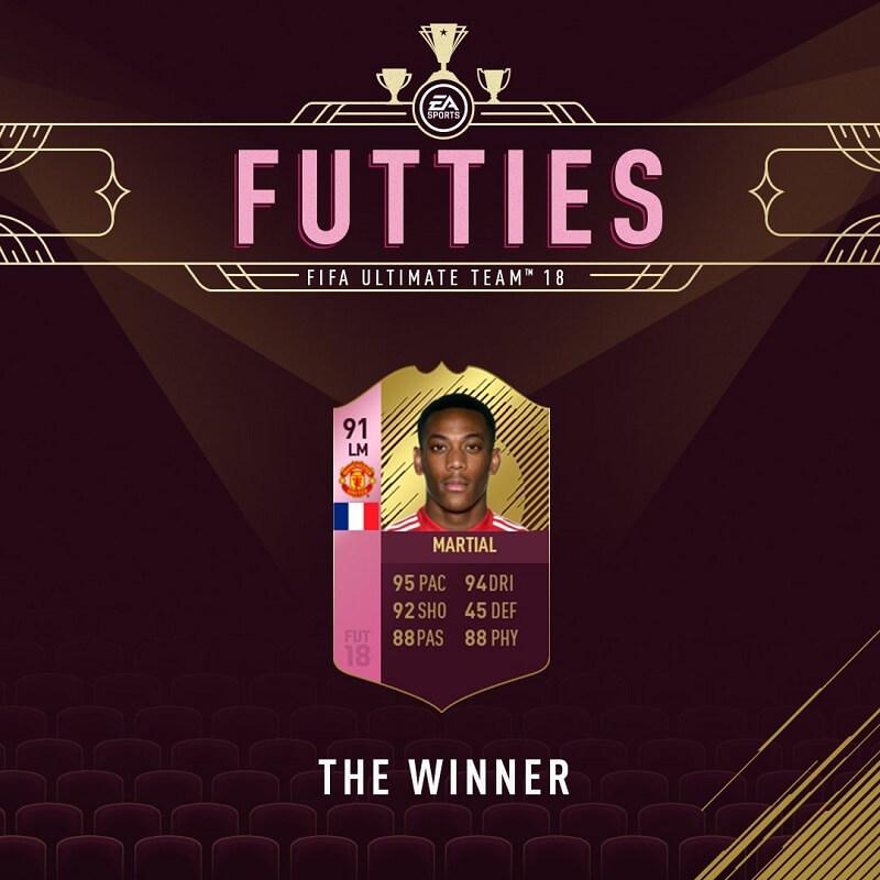 Martial è il vincitore degli Oscar di FUT per il ruolo di centrocampista sinistro