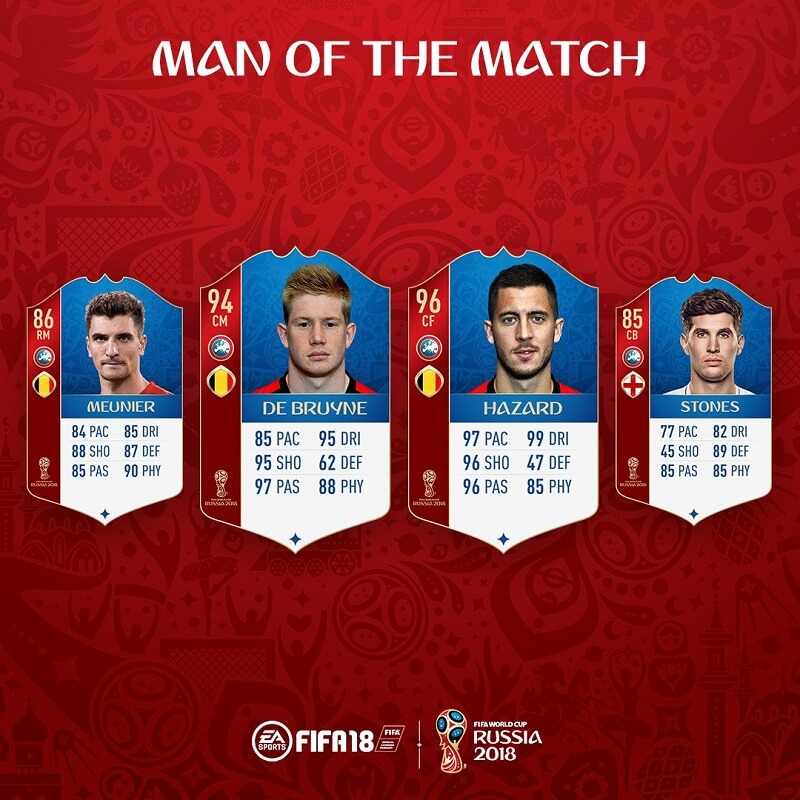 Man of the Match di Belgio Inghilterra su FUT World Cup