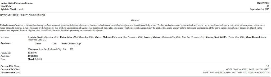 Presunto brevetto sul Momentum rilasciato nel 2016 da EA Sports