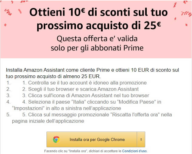 Buono Amazon di 10 euro se installi Amazon Assistant nel tuo browser