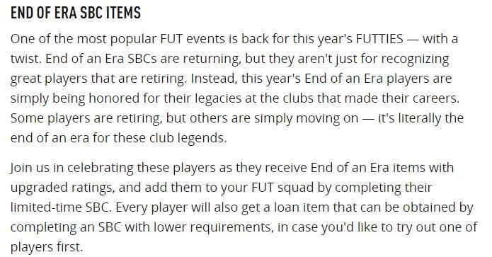 End of an era SBC - Dettagli dal sito EA Sports