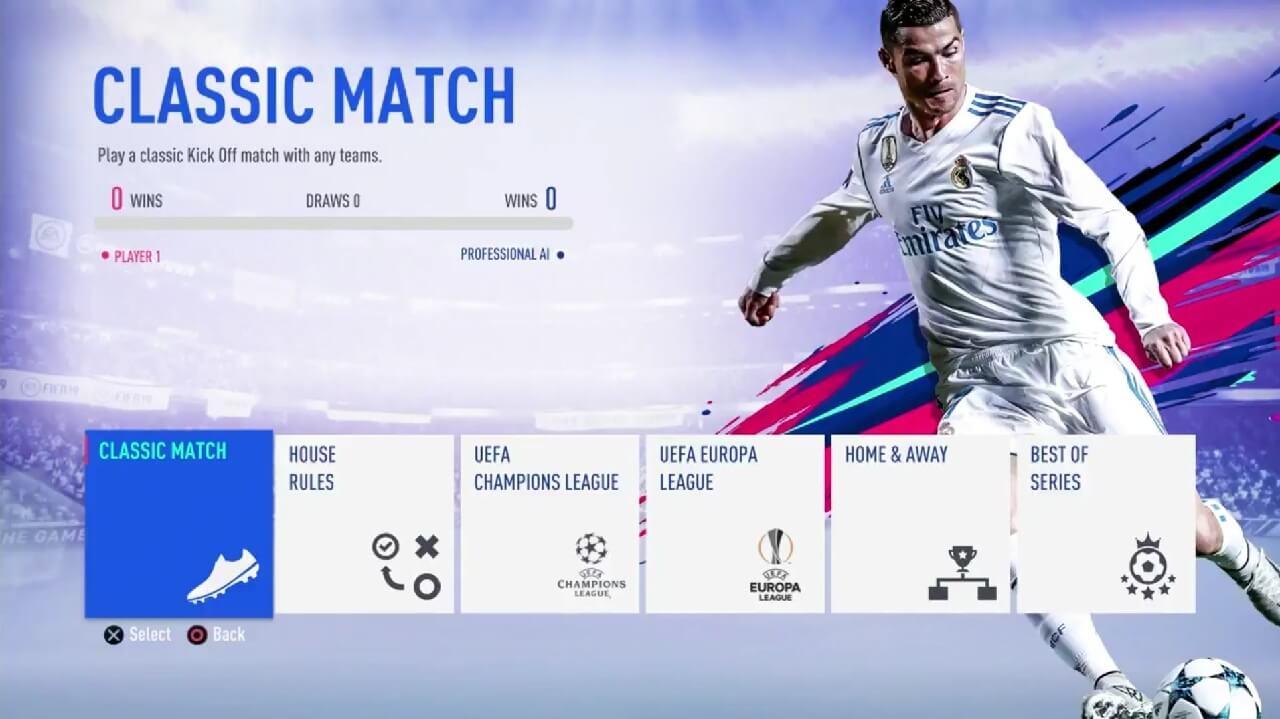Menù principale di FIFA 19