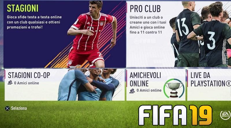 Menù e modalità di gioco di FIFA 19