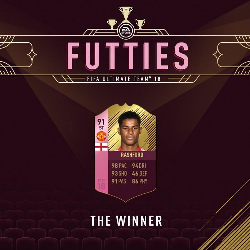 Rasfhford è il vincitore degli Oscar di FUT per il ruolo di attaccante