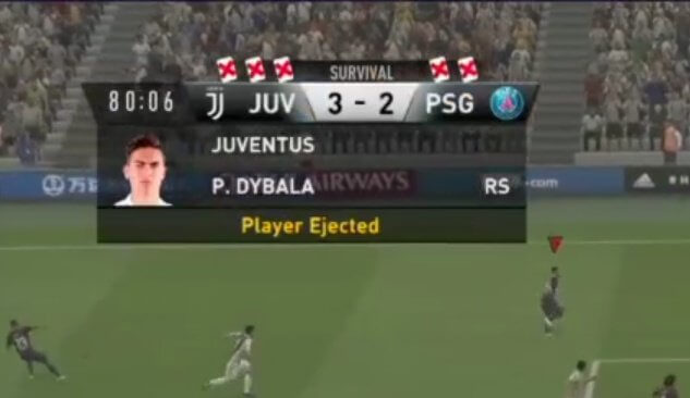 FIFA 19 Survival Mode, Dybala ejected in seguito ad un gol