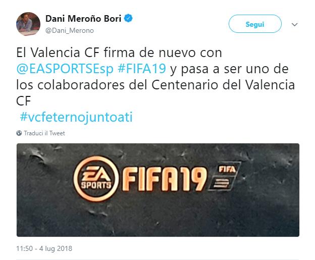 Tweet che conferma l'arrivo dello stadio Mestalla su FIFA 19