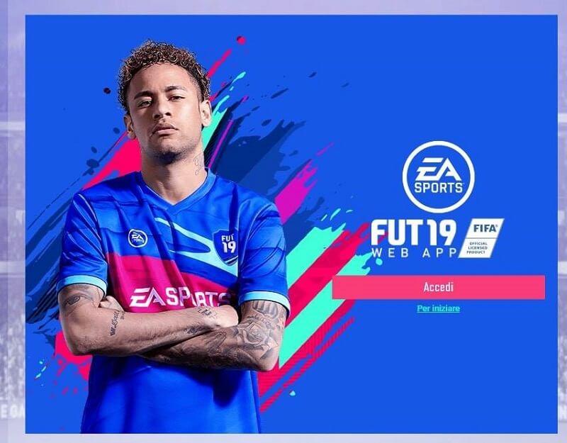 FIFA FUT 19 Web App - Schermata iniziale