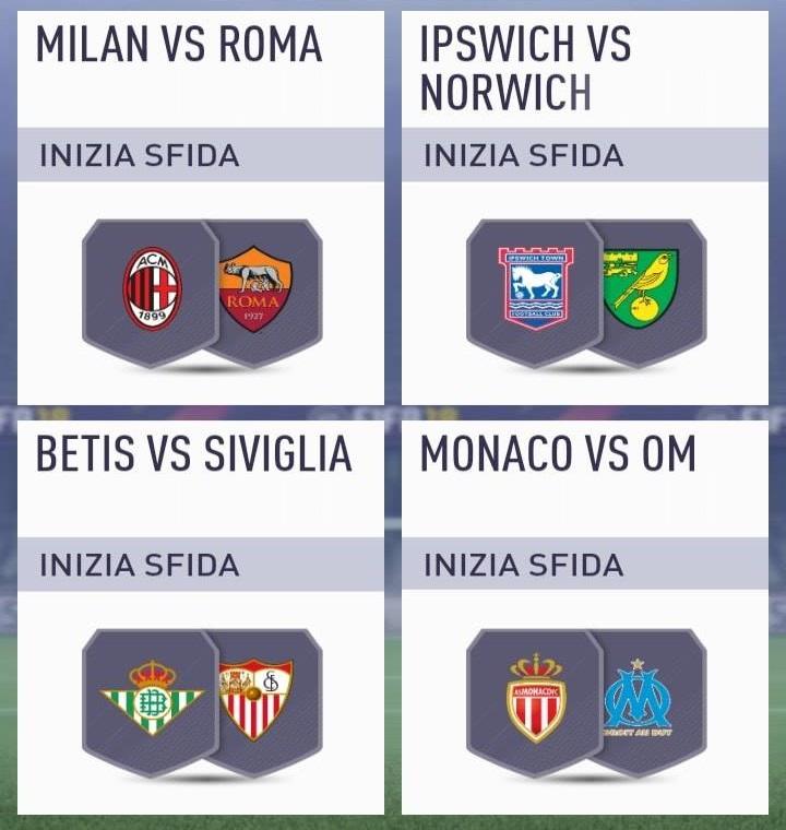 Roma - Milan nella SCR Incontri Principali del 28 agosto