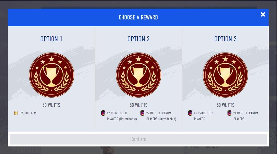 Scelta dei premi di Division Rivals dalla Web App