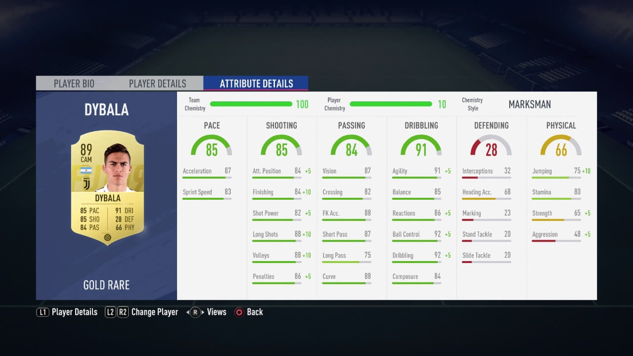 Statistiche di Dybala in FIFA 19 con stile intesa cannoniere e intesa massima