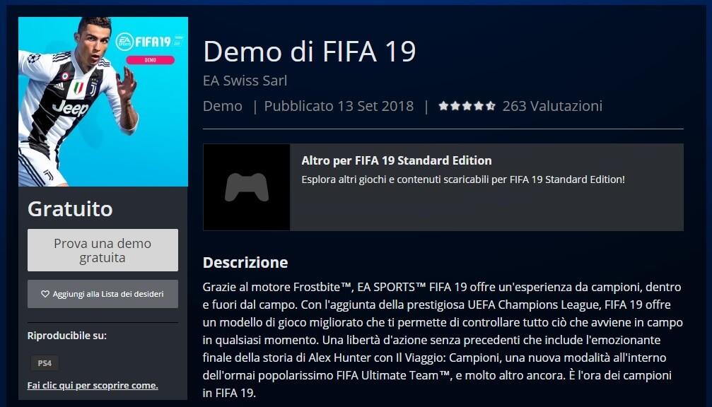FIFA 19 demo disponibile su PSN Store per Play Station 4