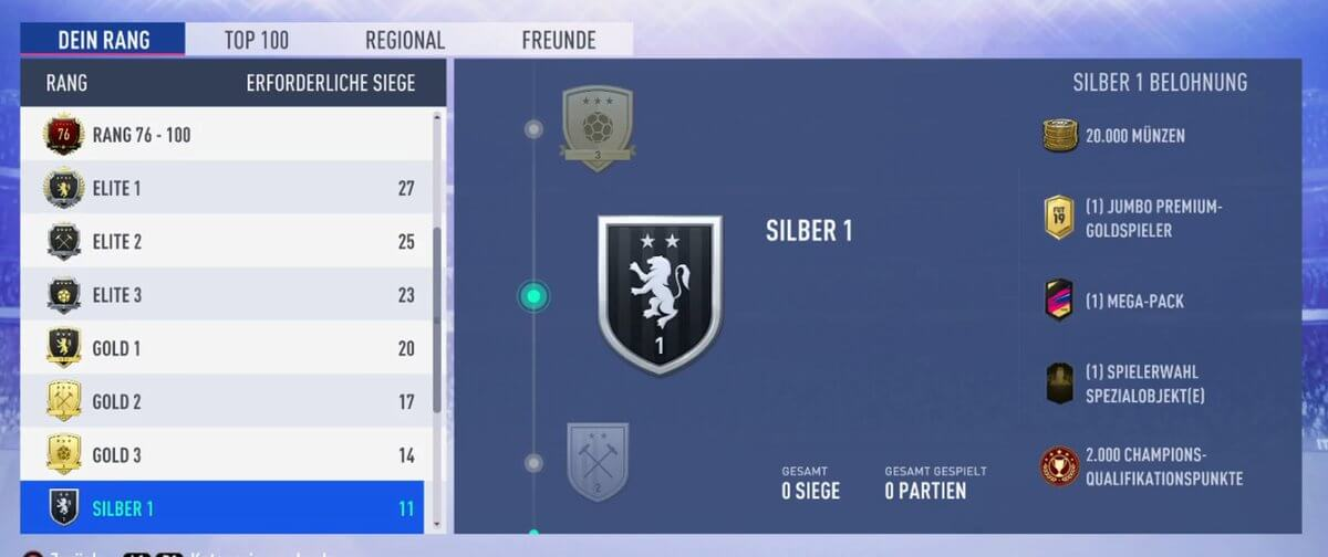 Premi argento 1 in Weekend League su FIFA 19