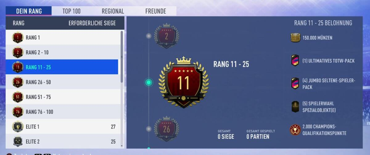 Premi posizione 11-25 in Weekend League su FIFA 19