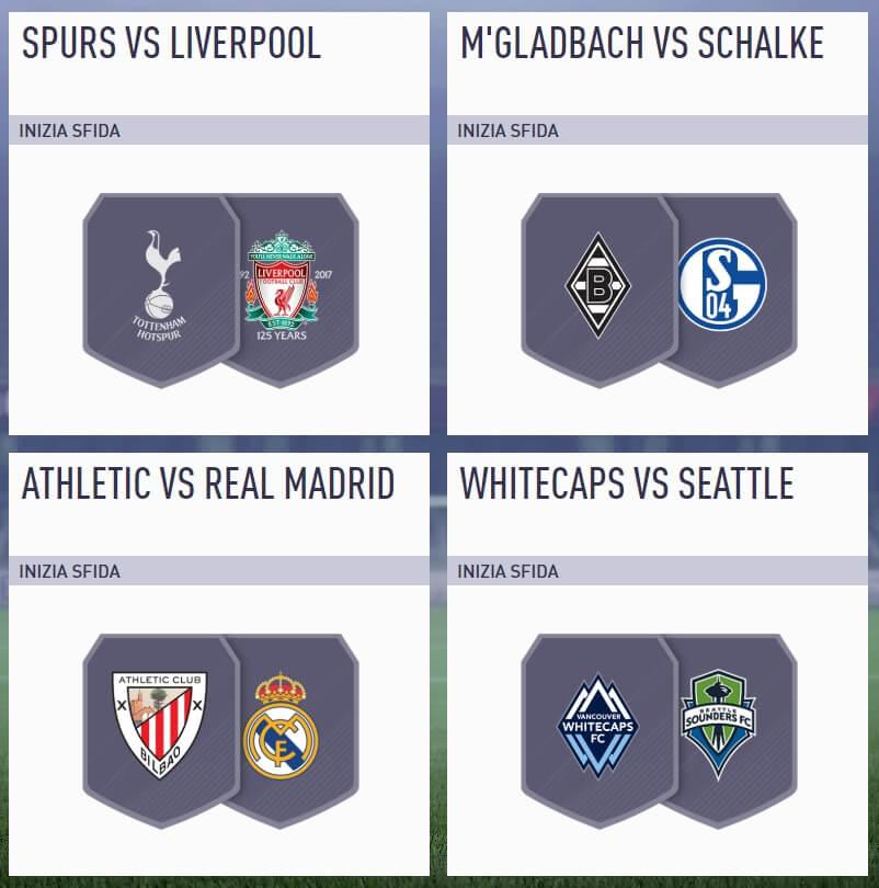 Soluzione sfida incontri principali del 11 settembre in FIFA 18