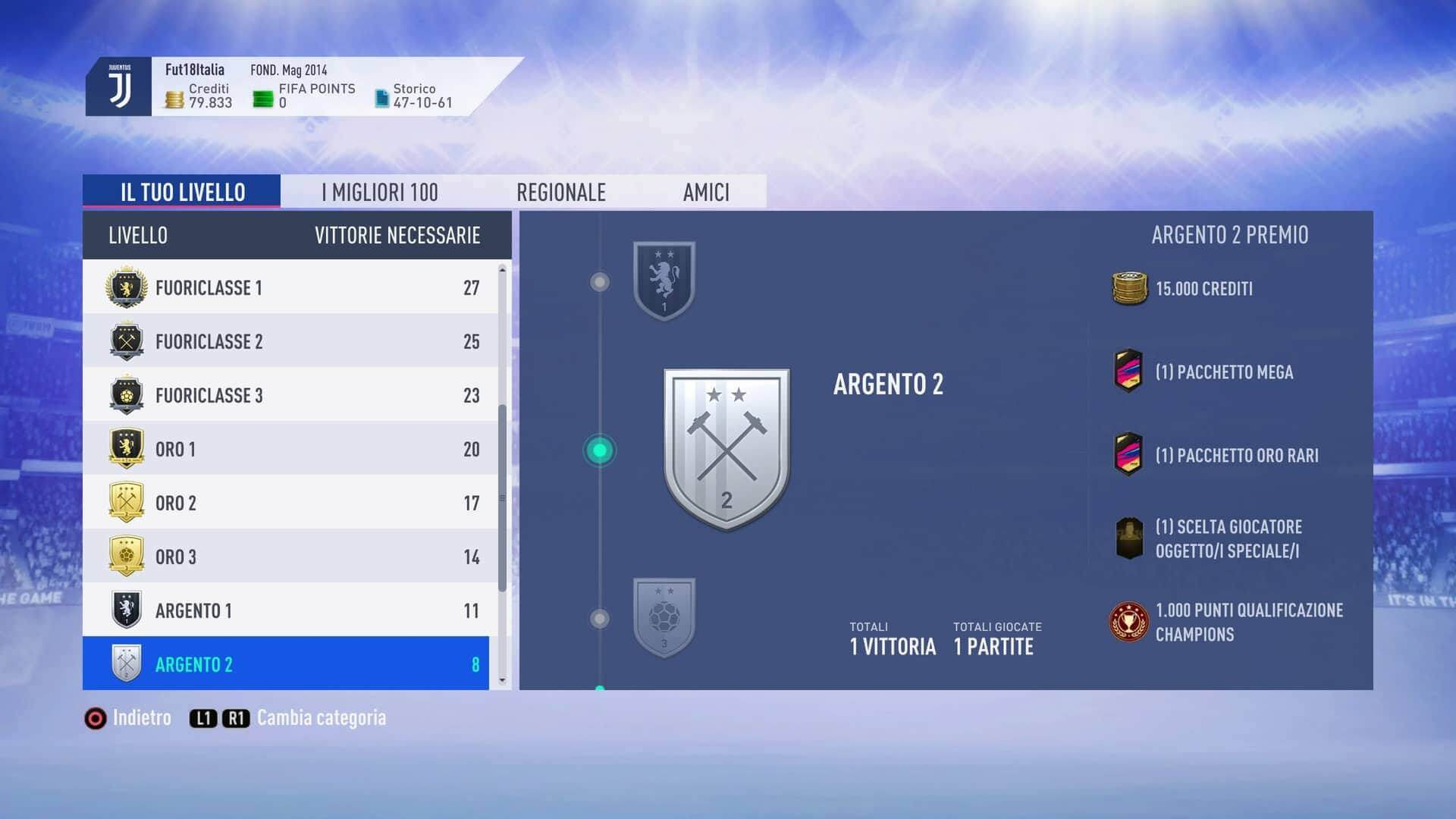Vittorie necessarie per essere classificato in argento e oro in Weekend League