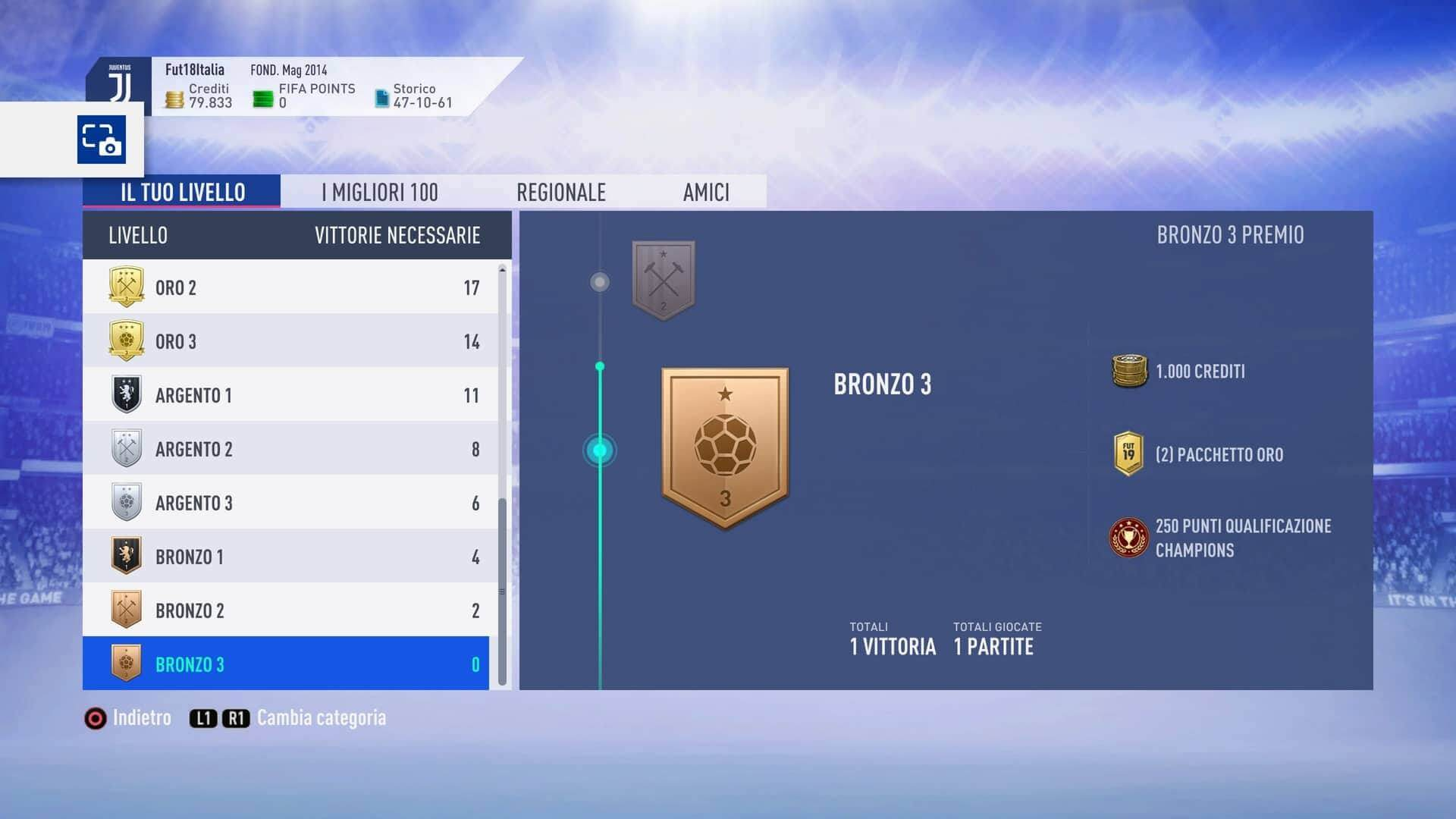 Vittorie necessarie per raggiungere argento 1 in Weekend League su FIFA 19