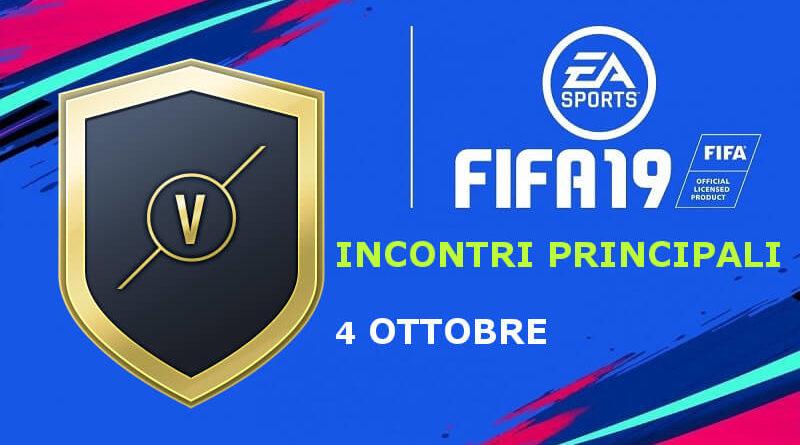 SCR incontri principali del 4 ottobre su FIFA 19