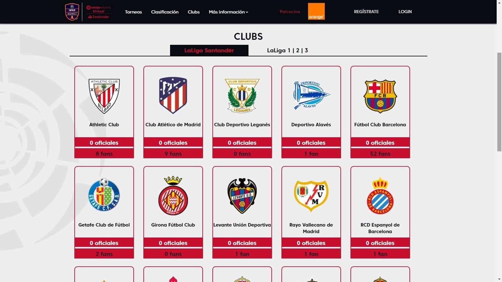 Club partecipanti al torneo La Liga Santander eSports