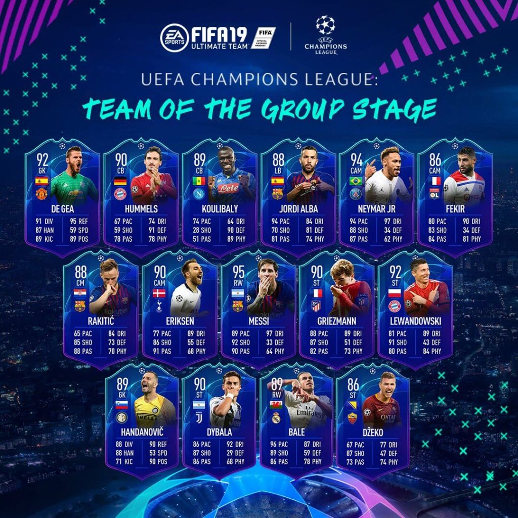 TOTGS - Team of the Group Stage UEFA Champions League