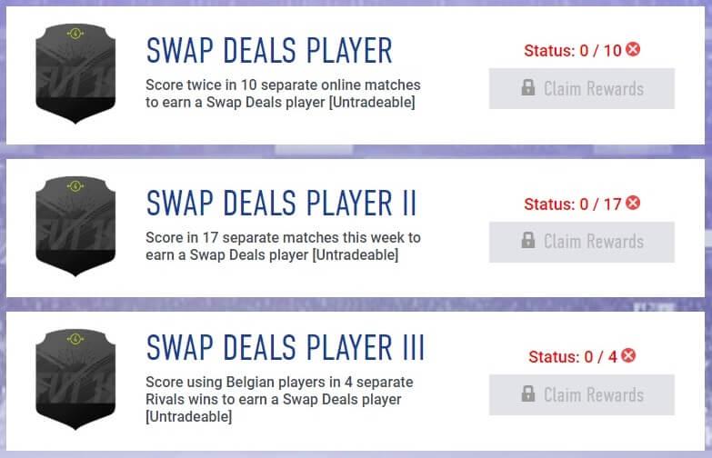 Tre carte swap disponibili negli obiettivi settimanali