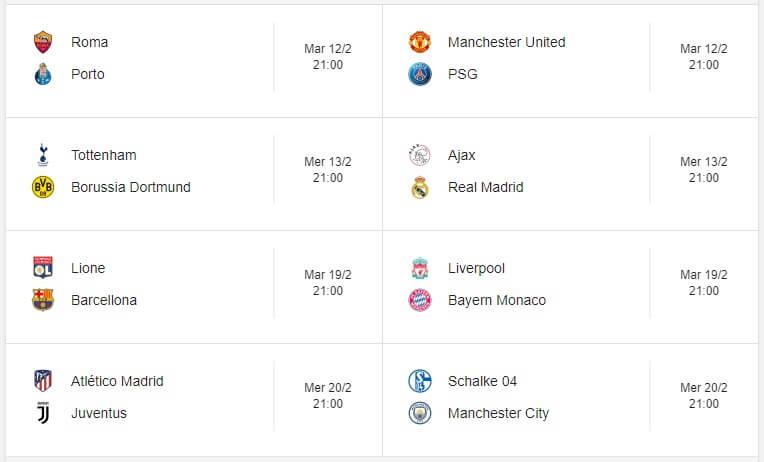 Match di andata degli ottavi di UEFA Champions League 2019