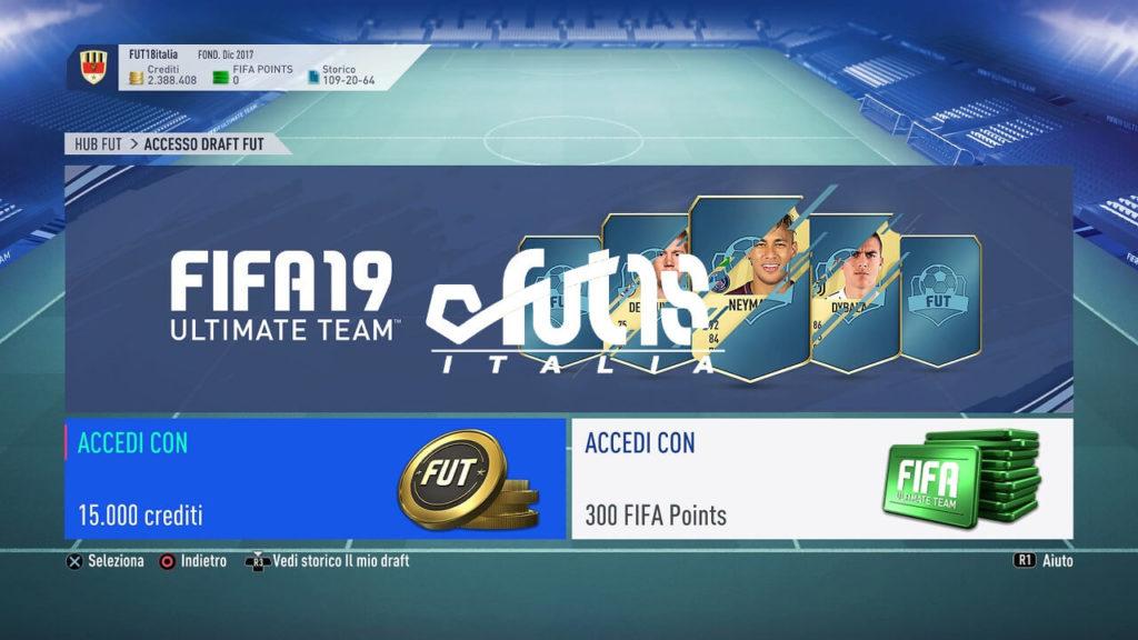 FIFA 19 - Schermata di accesso al FUT Draft