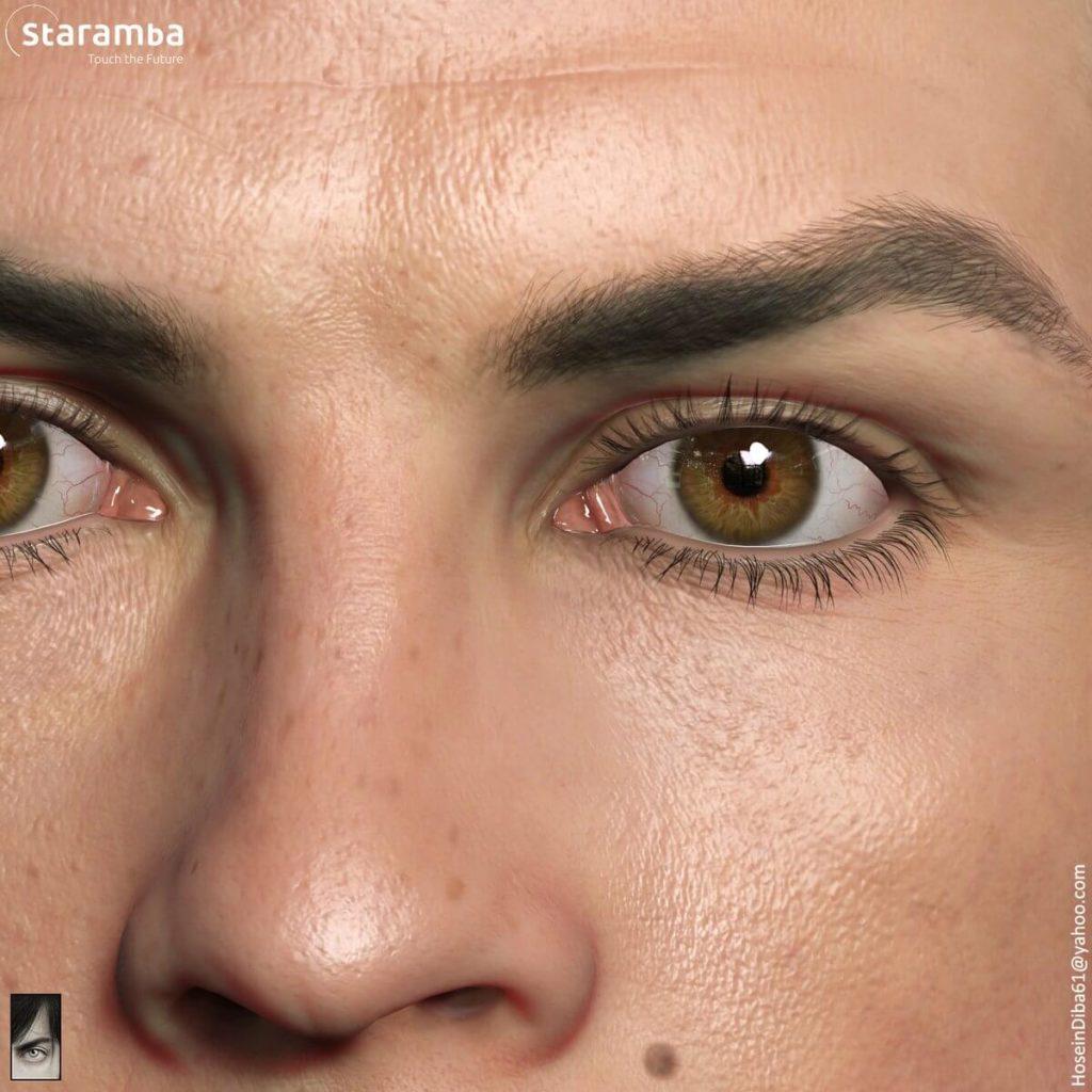 Face Scan di Cristiano Ronaldo - Dettagli occhi e naso