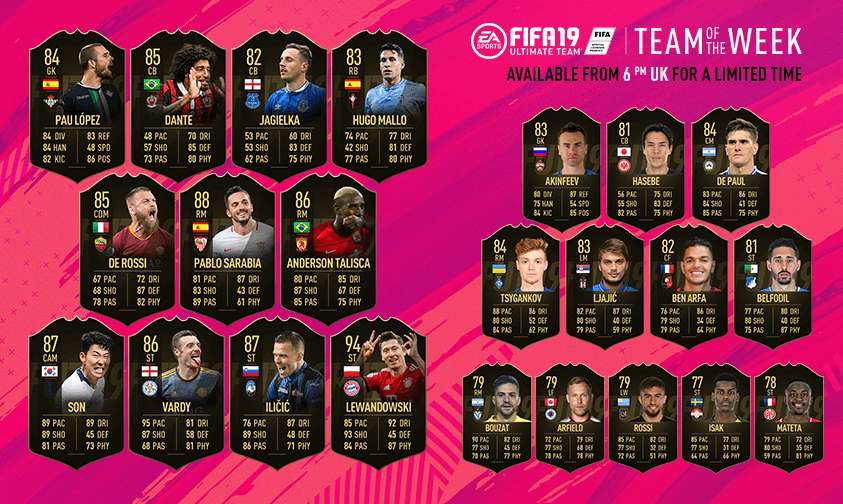 TOTW 30 - Team of the Week FIFA 19