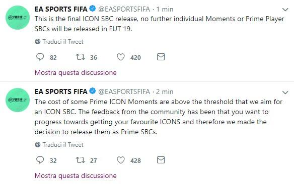 Tweet EA Sports sul rilascio di Icon Prime Moments