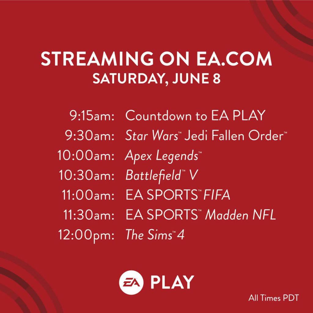 Programma dell'EA Play 2019 - 8 giugno