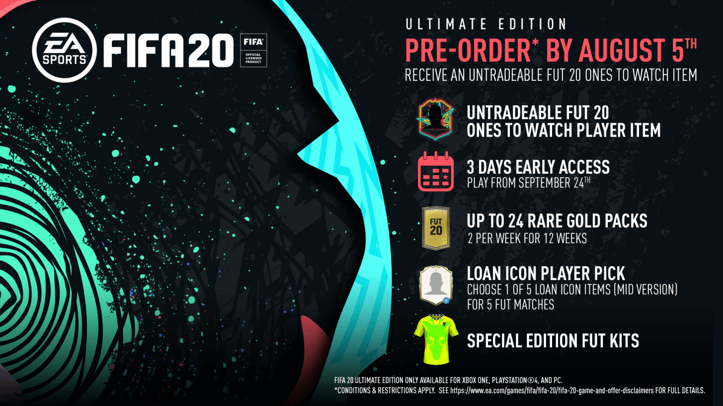 FIFA 20 Ultimate Edition bonus preorder