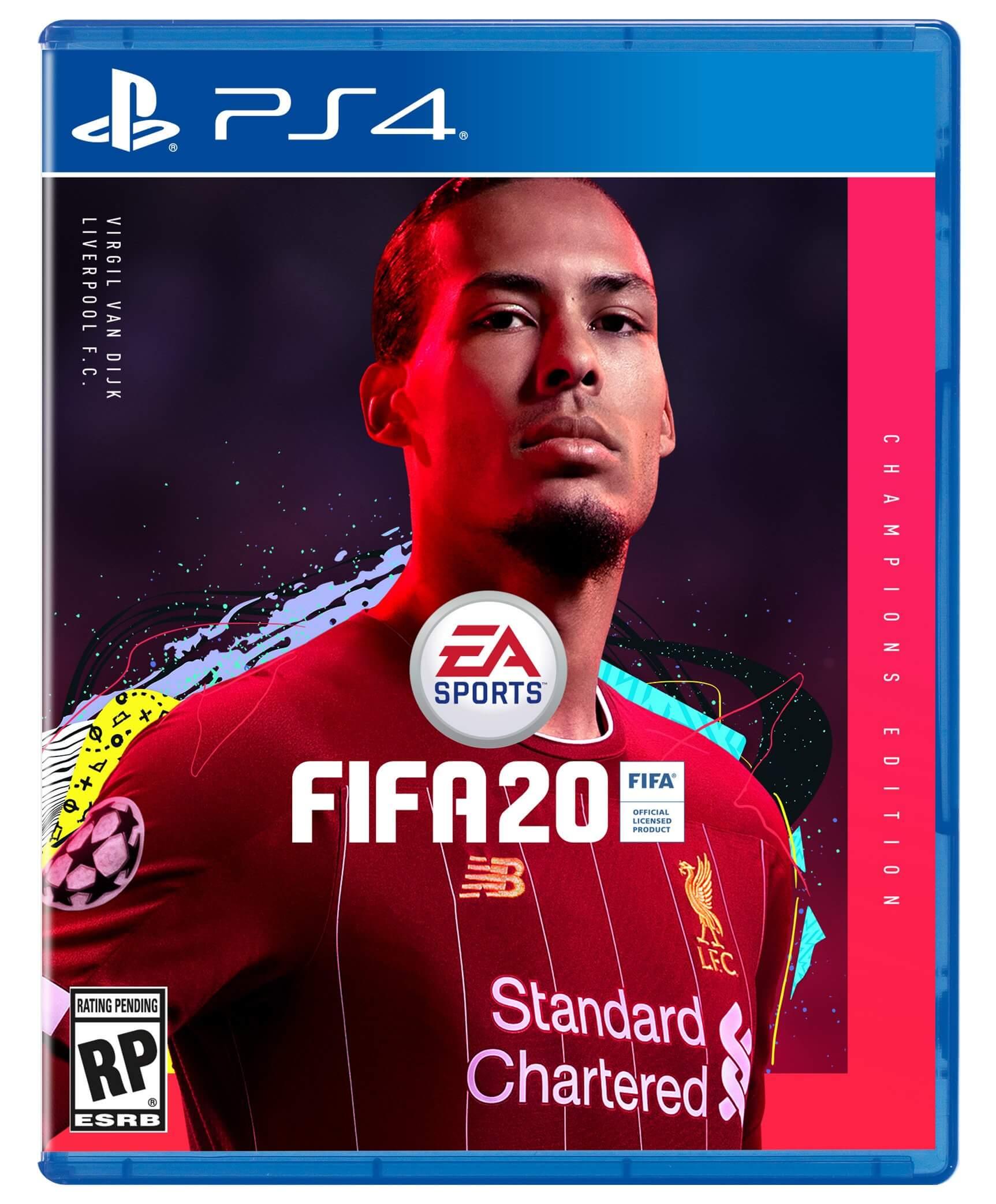 Cover ufficiale di FIFA 20 Champions Edition con Van Dijk