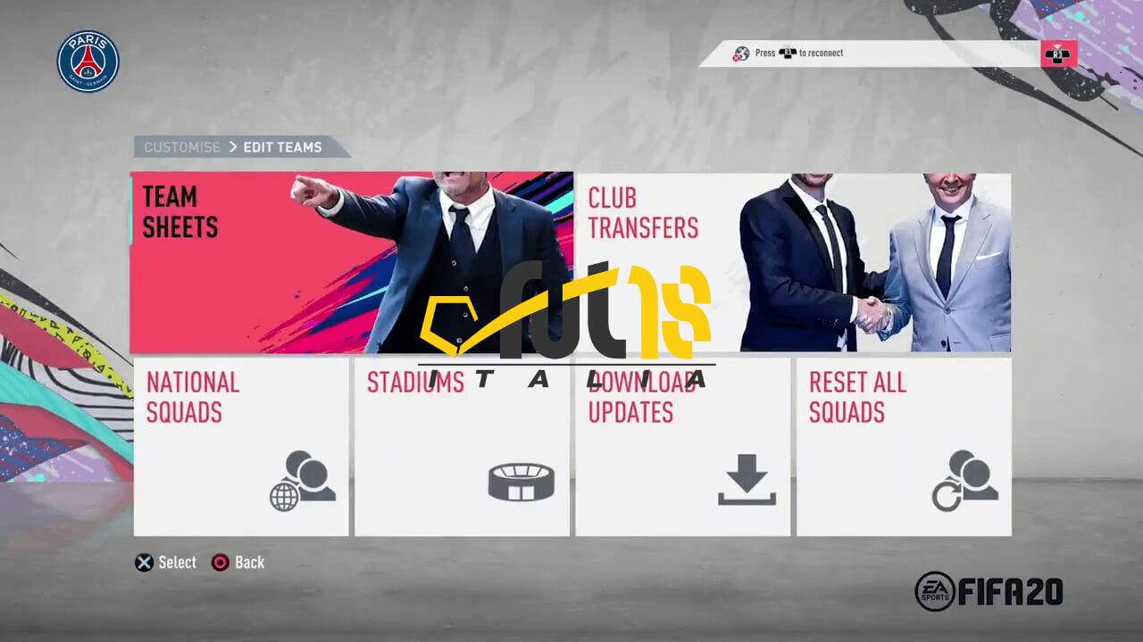 Prima immagine ufficiale del menù in FIFA 20