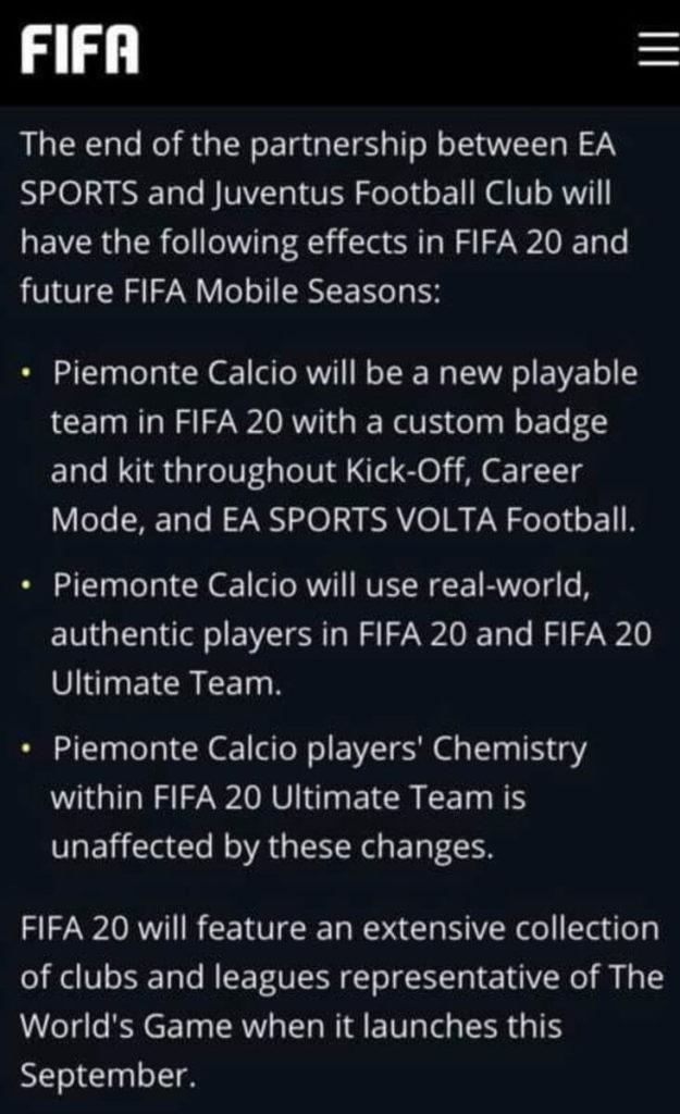 Piemonte Calcio sarà la Juventus in FIFA 20