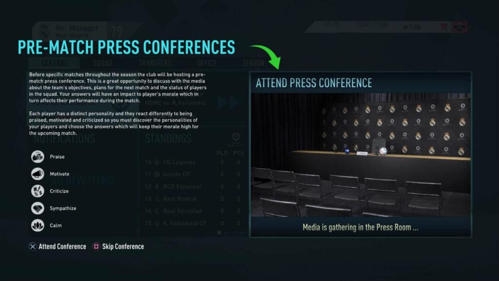 Conferenza stampa pre-partita - FIFA 20 modalità carriera