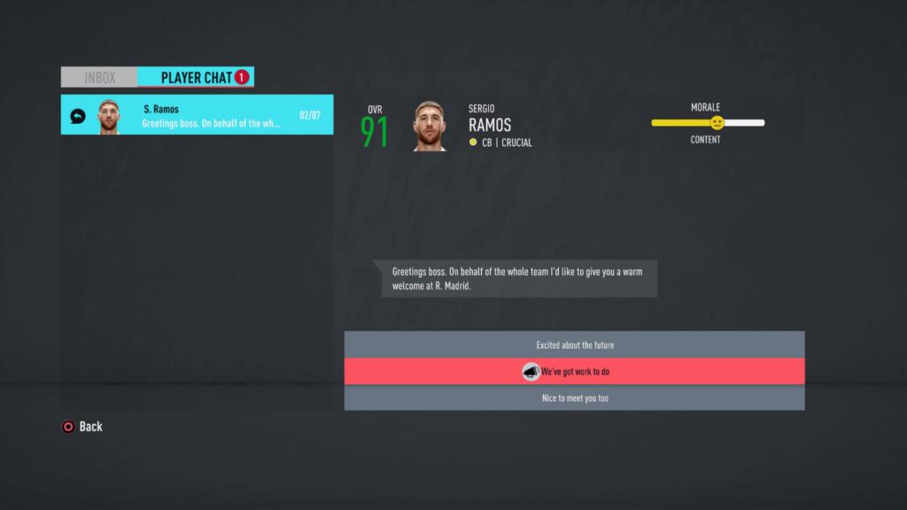 Conversazione con i giocatori - FIFA 20 modalità carriera