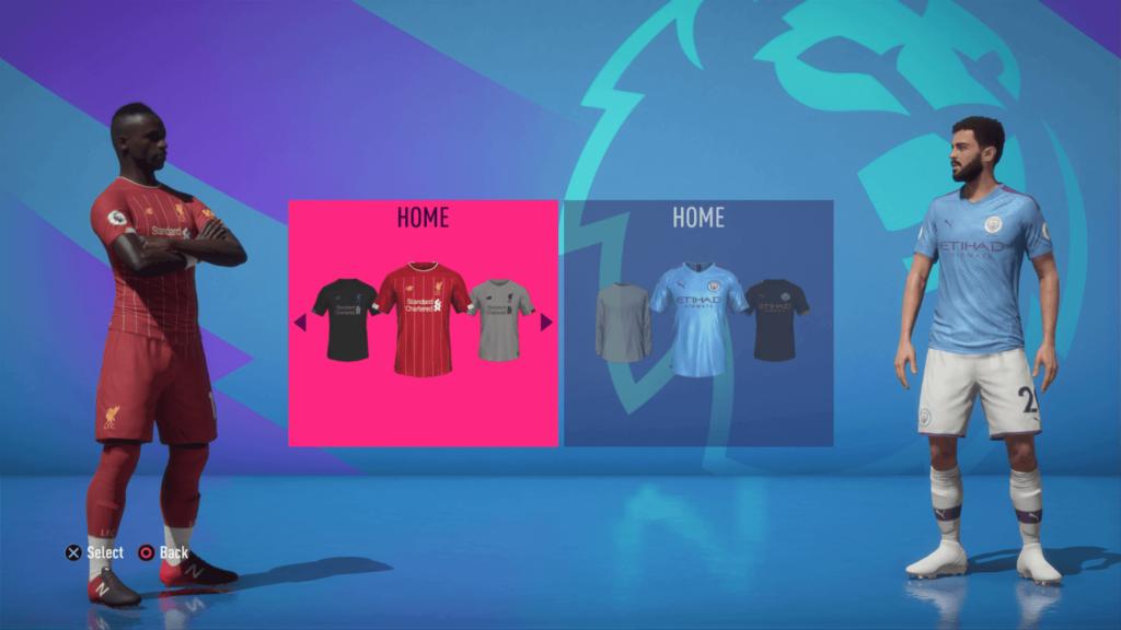 Selezione della divisa, Liverpool-Man City - FIFA 20 modalità carriera