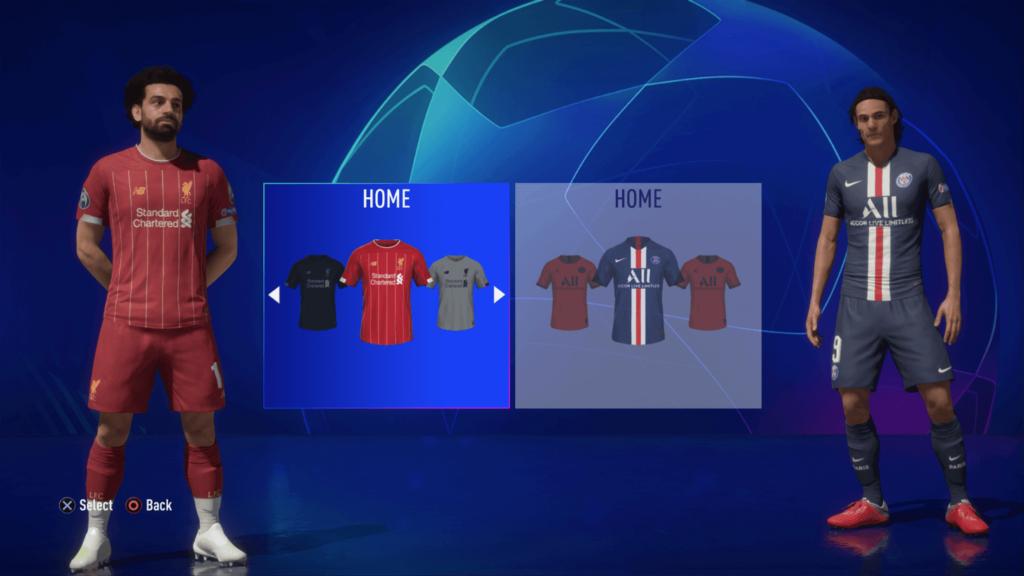 Selezione del kit, Liverpool-PSG - FIFA 20 modalità carriera