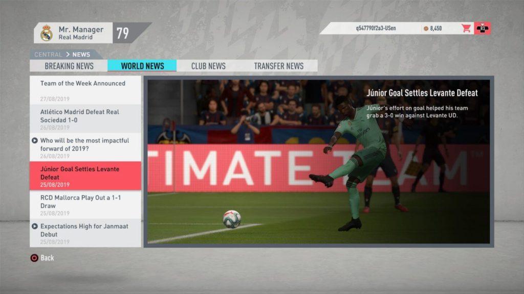 World news - FIFA 20 modalità carriera