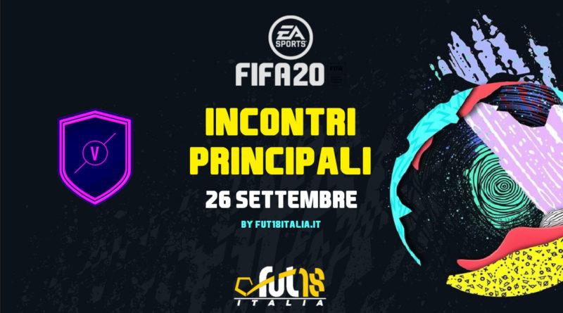 FIFA 20 - SCR incontri principali del 16 settembre
