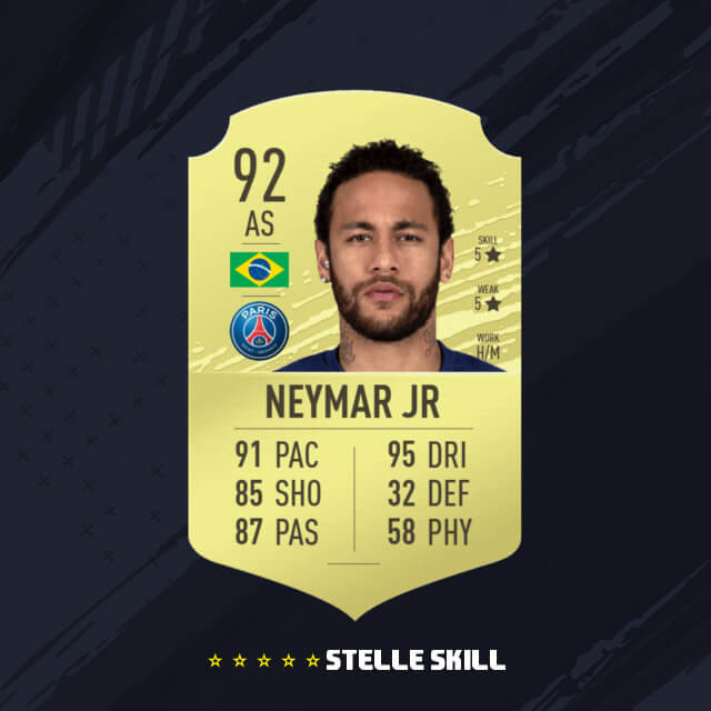 Neymar in FUT 20 con 5 stelle skill