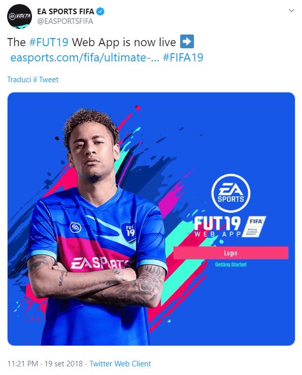 Giorno e ora di rilascio della Web App di FIFA 19
