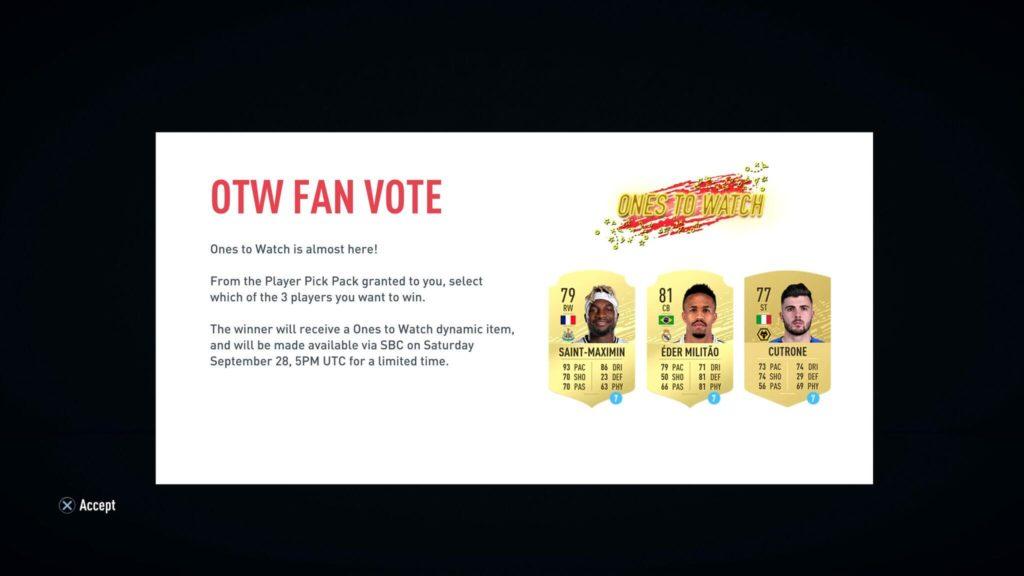 FIFA 20 - Votazione OTW