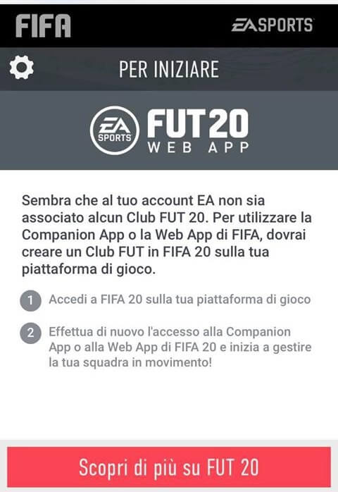 Errore su Web App, nessun club associato