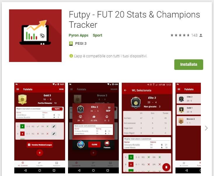 Futpy: App gratuita - FUT Champions Weekend League tracker