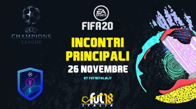 FIFA 20: SCR incontri principali UEFA del 26 novembre