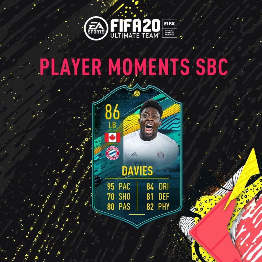 FIFA 20: Davies Player Moments SBC