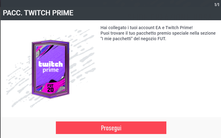 FUT 20: pacchetto Twitch Prime