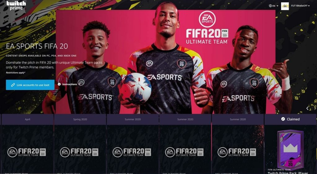 FIFA 20: Twitch Prime pack